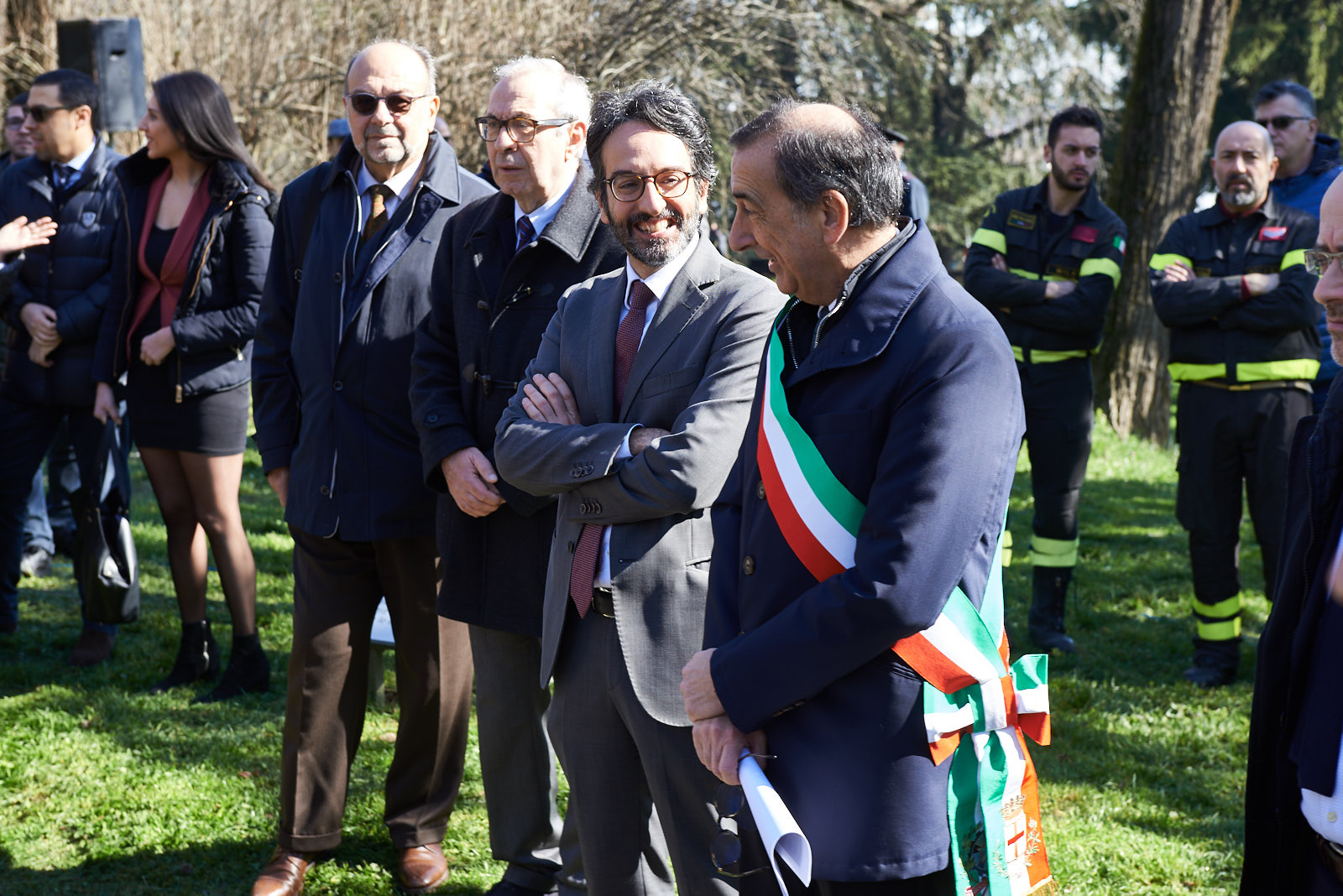 Giorgio Mortara - UCEI Vice President, Basilio Rizzo - Municipal Councilor, Lamberto Bertolé - President of the Municipal Council, Giuseppe Sala - Mayor of Milan
