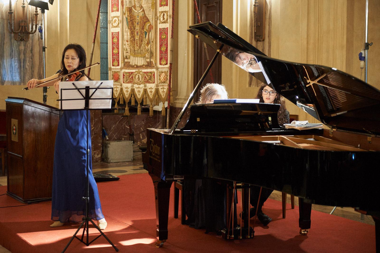Nobuko Murakoshi with her violin. At the piano, Ani Martirosyan