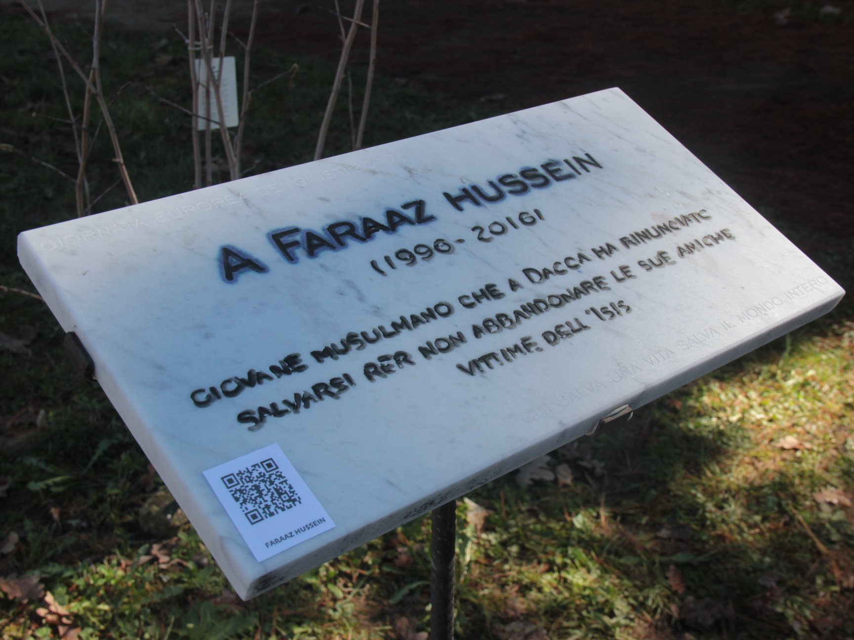 A plaque for Faraaz Hussein in Vercelli