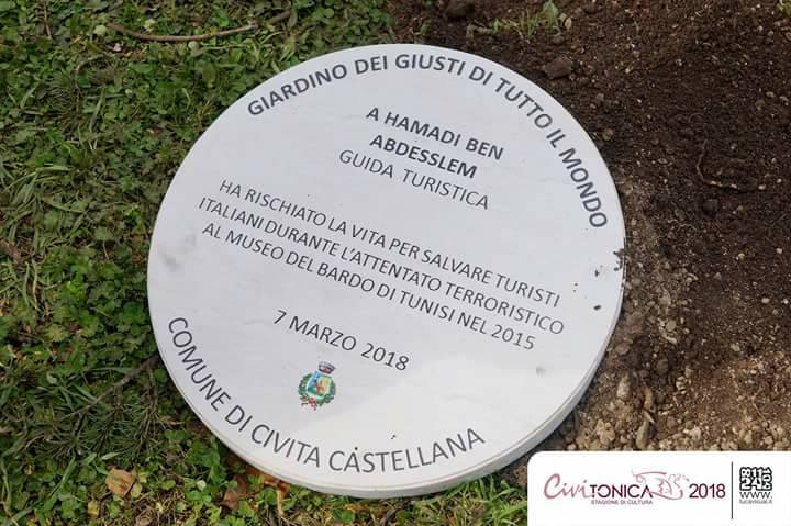 A plaque for Hamadi ben Abdesslem in Civita Castellana  (Civitonica Cultural Season 2018)