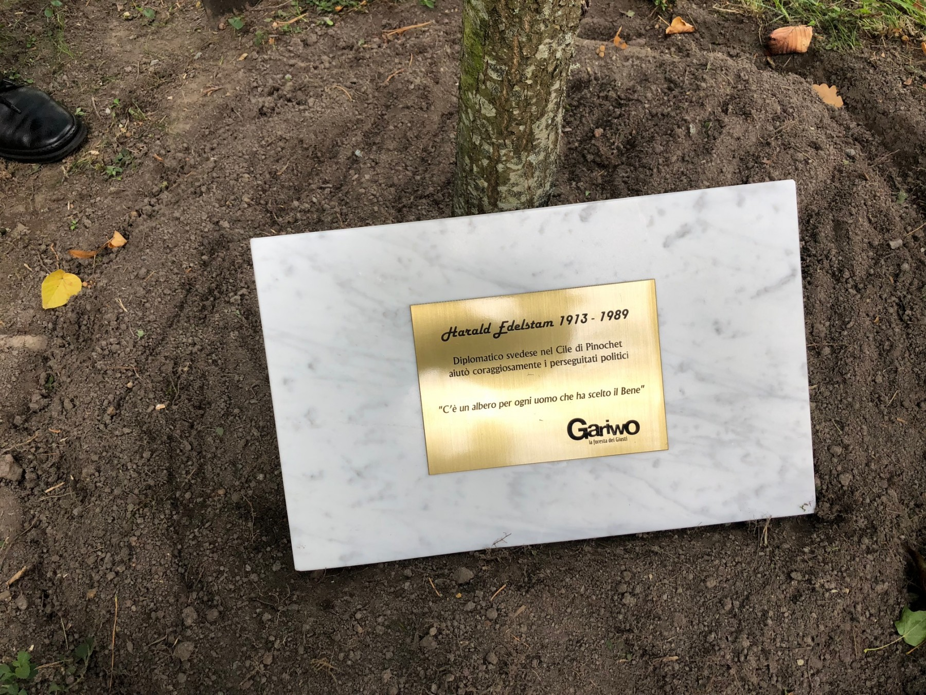 the plaque for Harald Edelstam