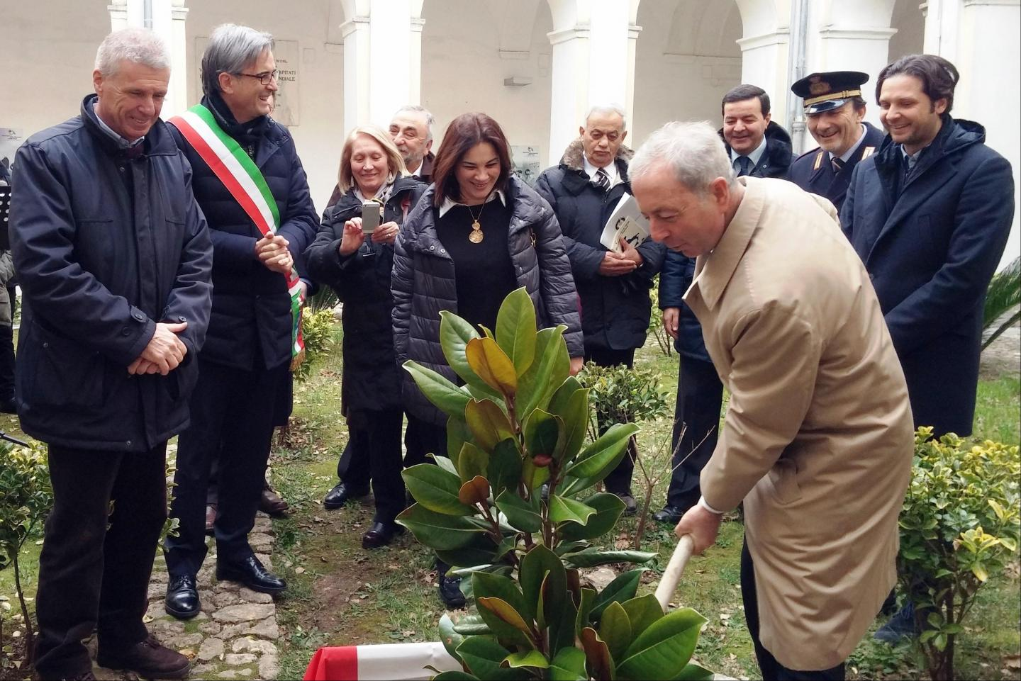 Planting of the magnolia tree. In the picture: the Commissioner of Salerno Pasquale Errico.