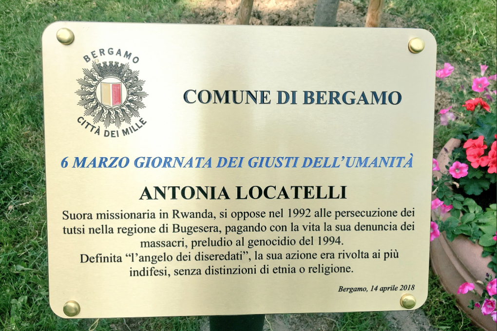 a plaque in the Garden of Bergamo for Antonia Locatelli