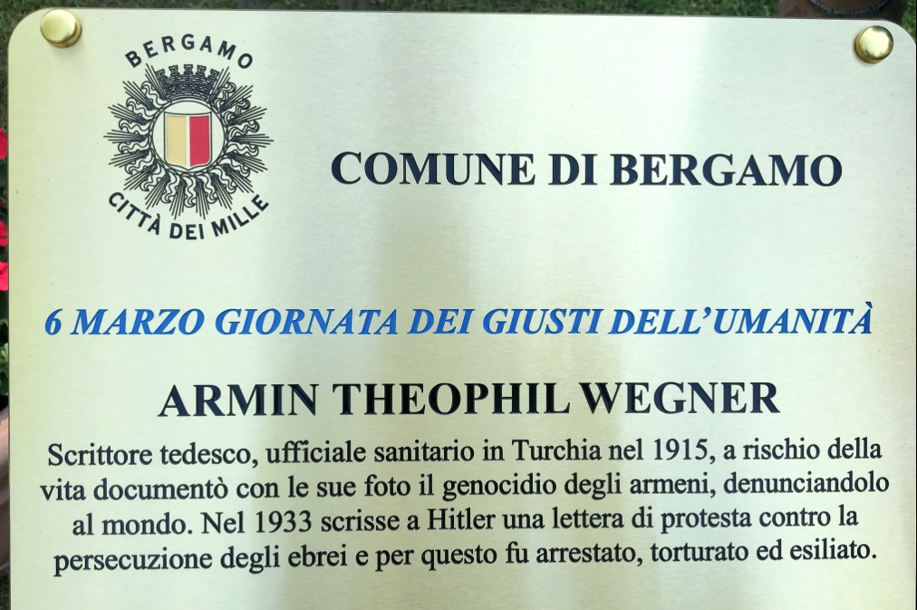 a plaque in the Garden of Bergamo for Armin Wegner