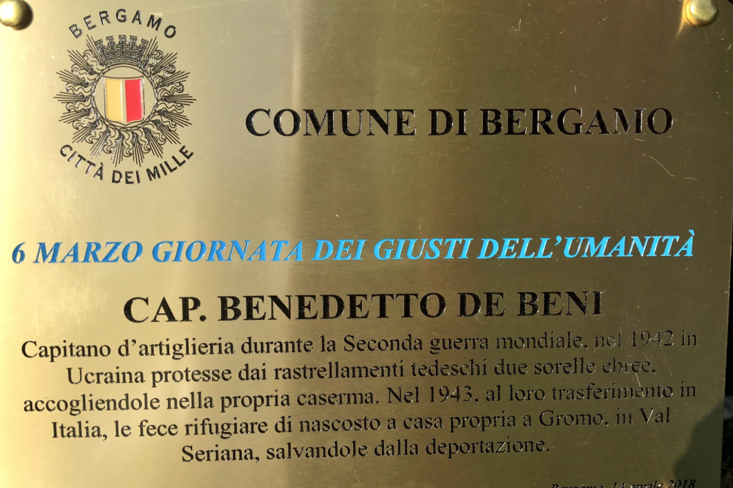 a plaque in the Garden of Bergamo for Benedetto De Beni
