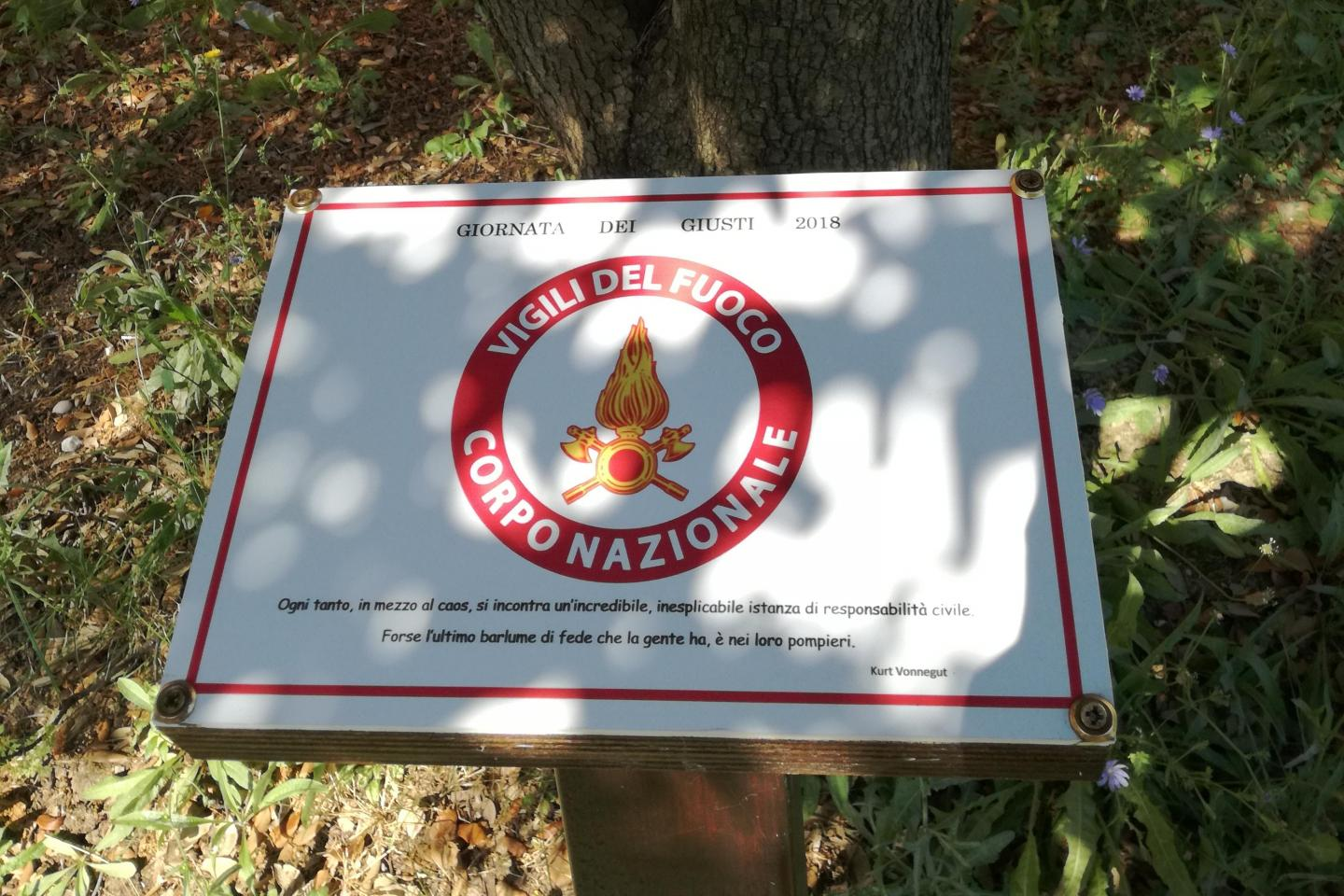 a plaque for the Italian Fire department at the Garden of Falconara
