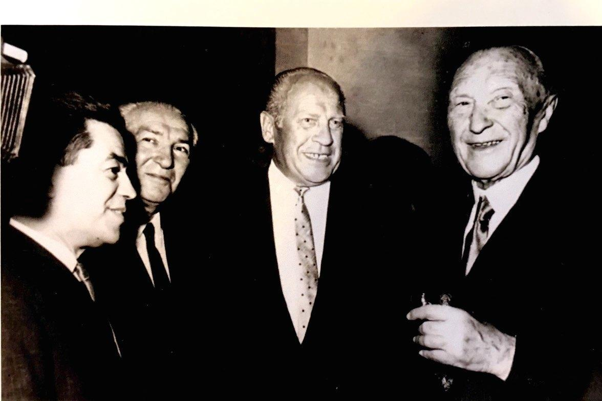 With Oskar Schindler and the German Chancellor Konrad Adenauer