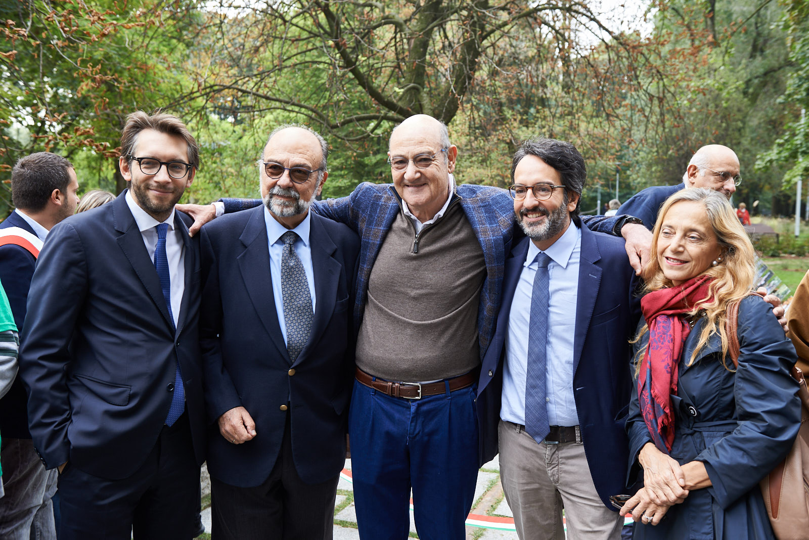 With Pierfrancesco Maran, Councillor for City Planning, Green and Agriculture of the City of Milan, Giorgio Mortara, UCEI Vice President, Gabriele Nissim, President of Gariwo, Lamberto Bertolé, President of the City Council of Milan