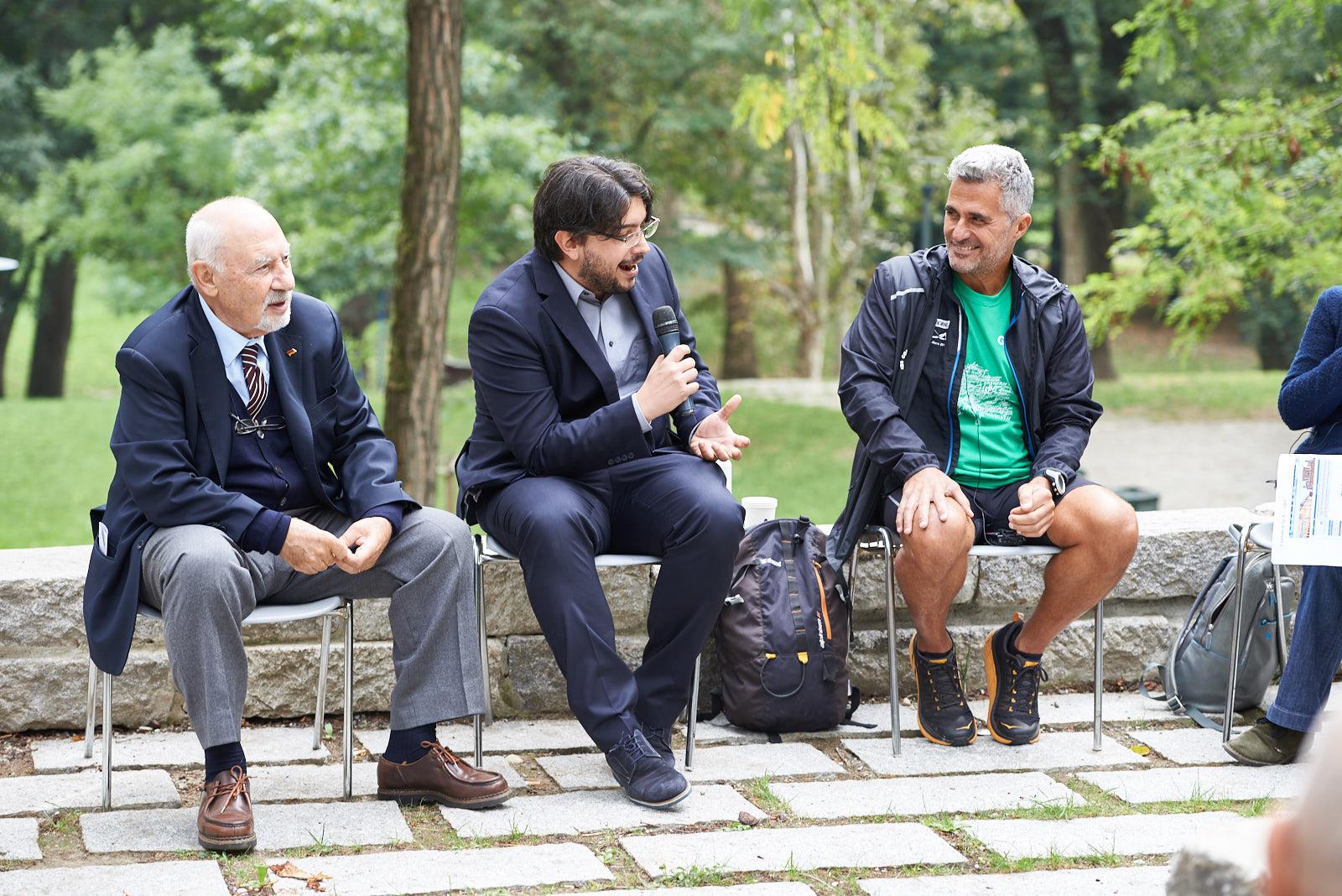 Pietro Kuciukian, Honorary Consul of Armenia in Italy and co-founder of Gariwo, Simone Zoppellaro, journalist, Ara Khatchadourian, runner for peace