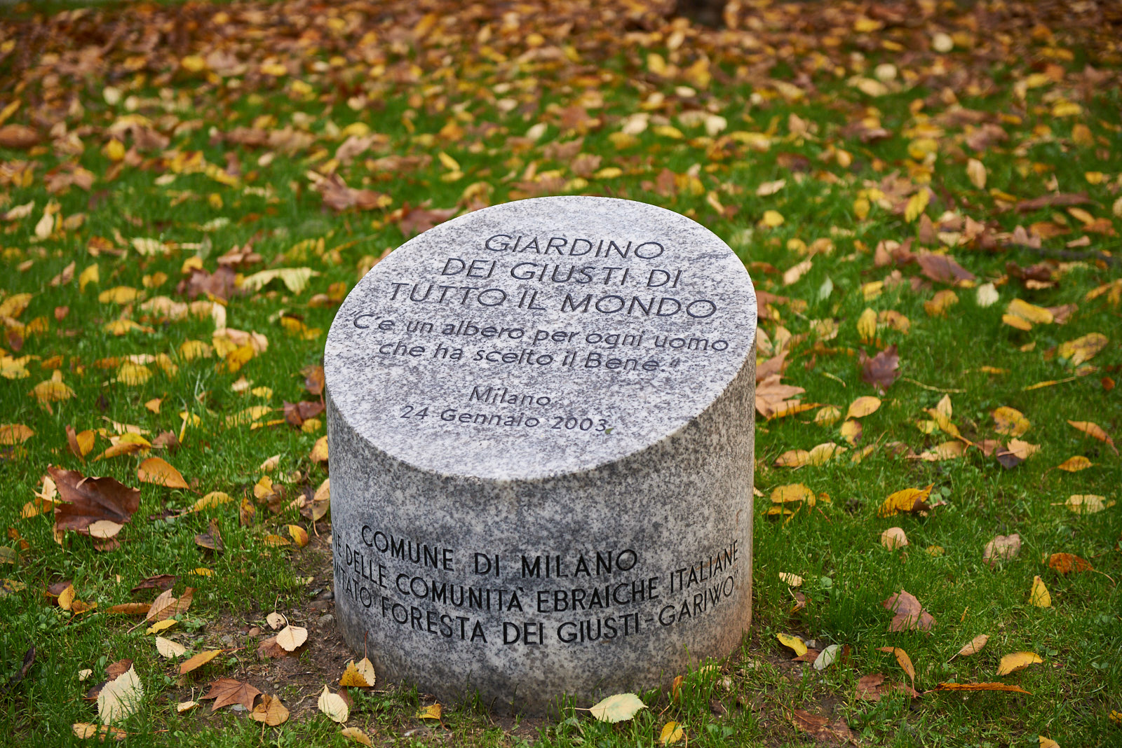 The memorial stone of the Garden of Milan