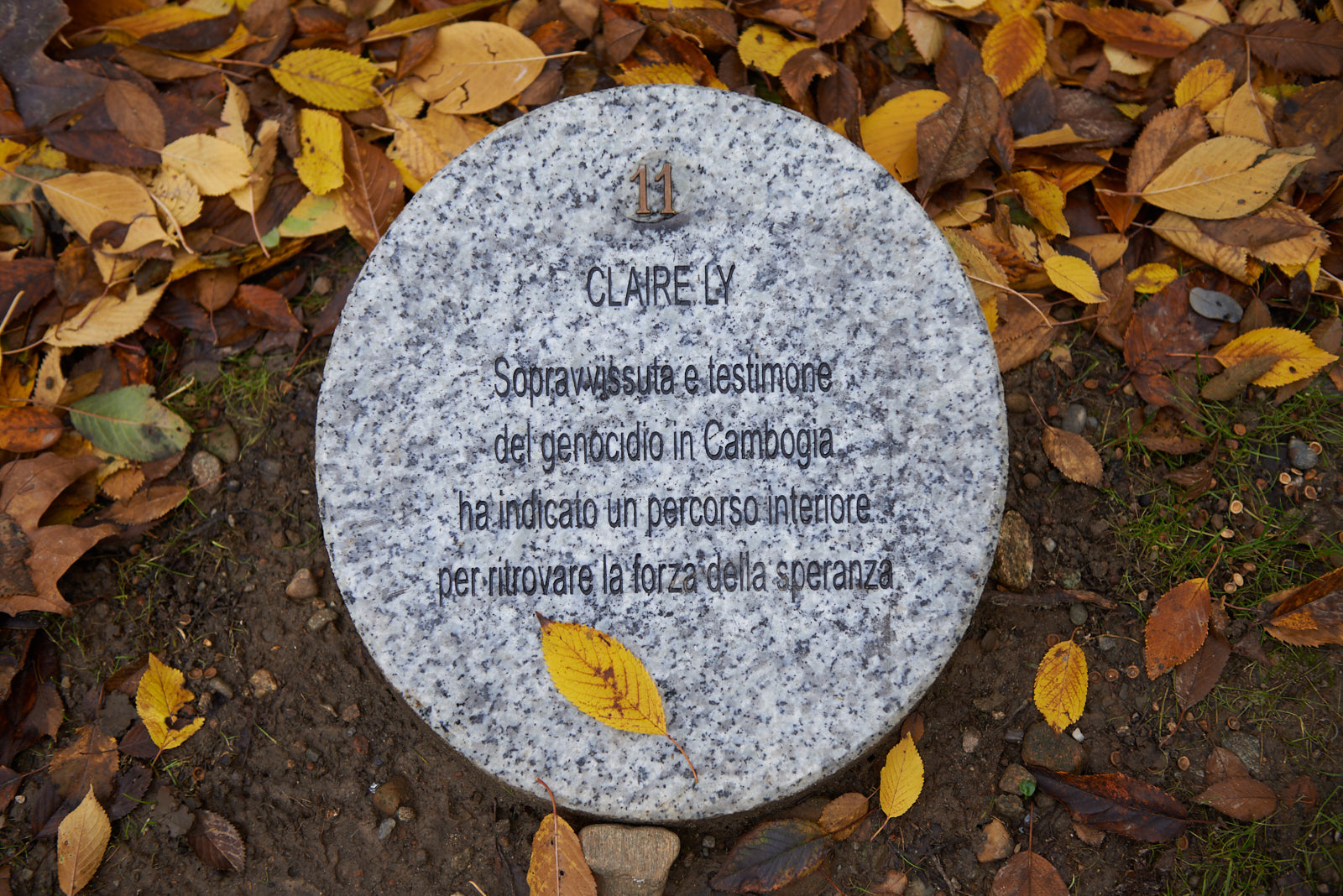 The memorial stone dedicated to Claire Ly