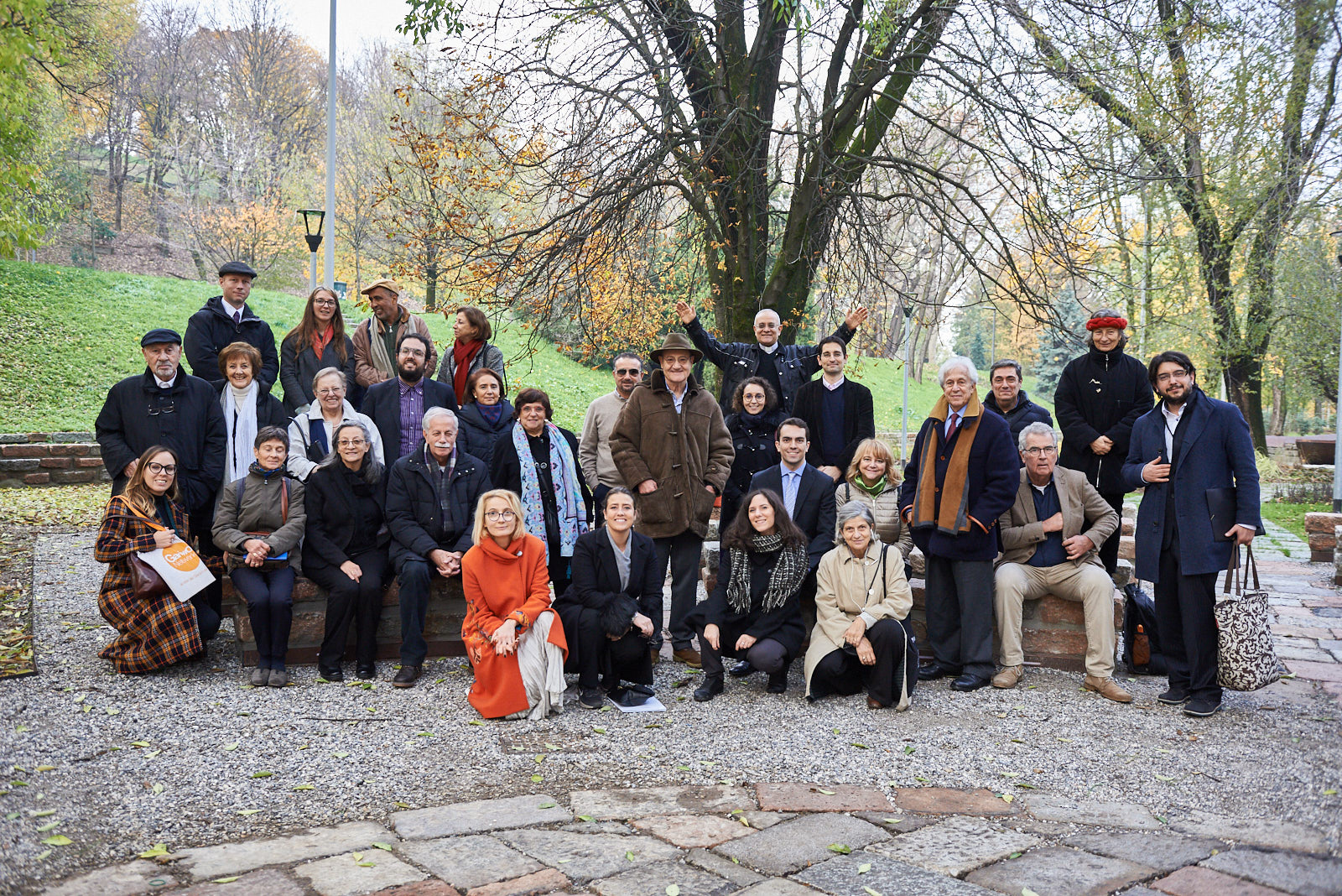 Delegations visiting the Garden of the Righteous, together with Gariwo's staff and co-founders Gabriele Nissim, Pietro Kuciukian and Anna Maria Samuelli