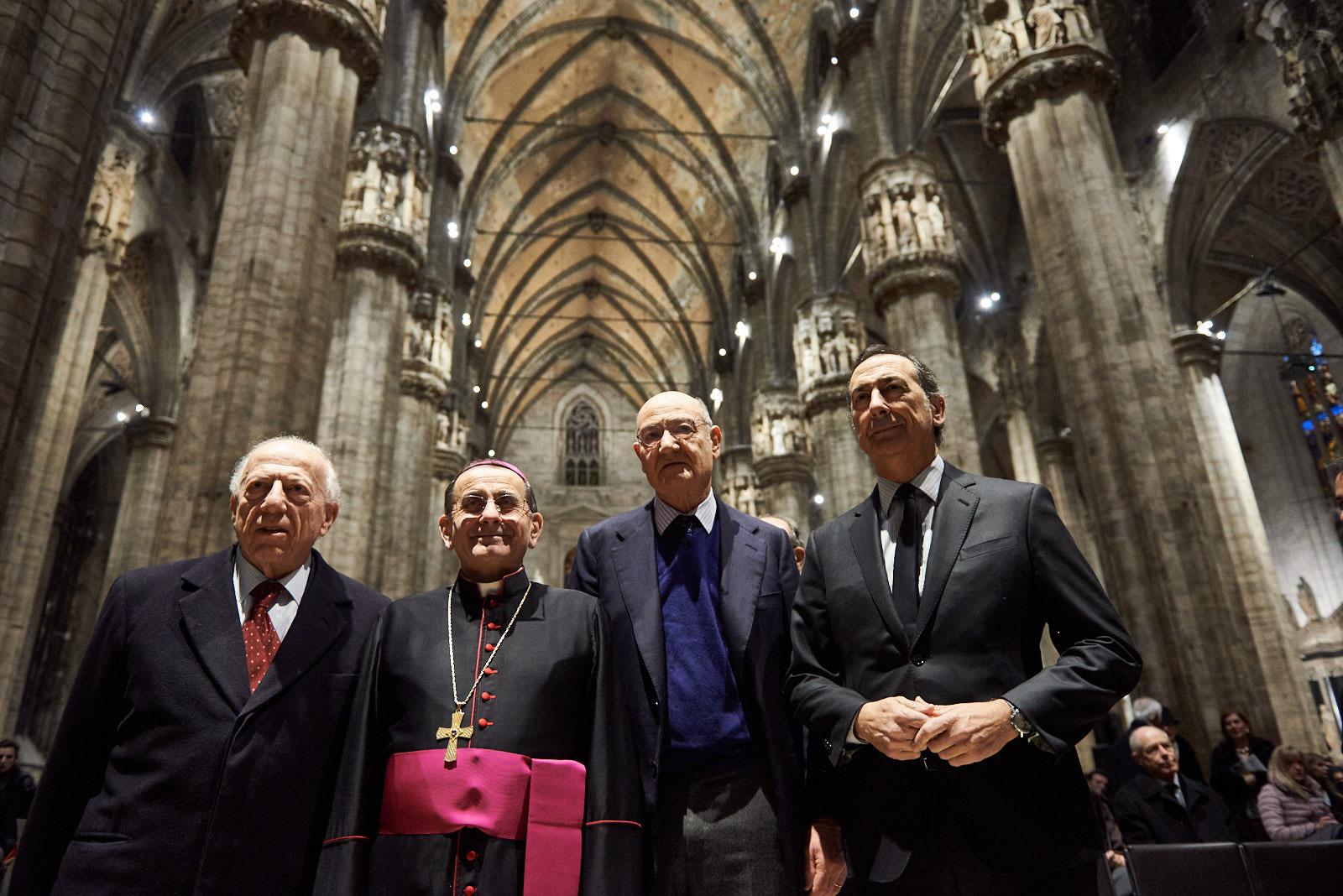 Fedele Confalonieri, Mons. Mario Delpini, Gabriele Nissim and Giuseppe Sala
