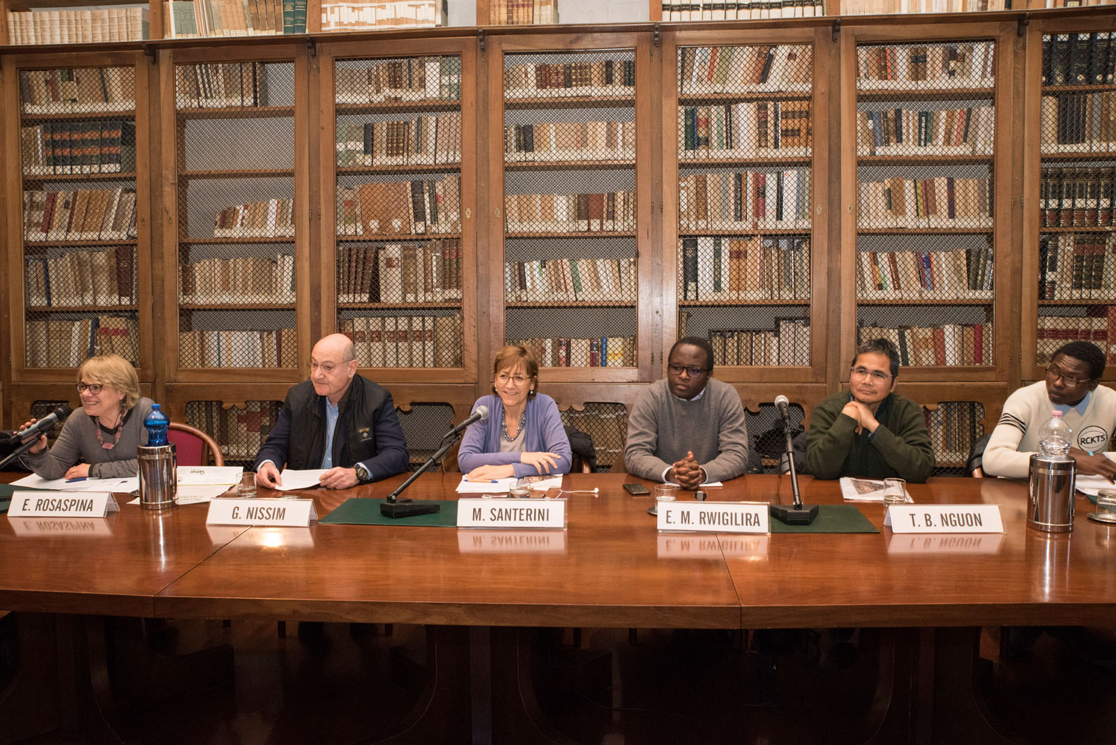 with Elisabetta Rosaspina, Milena Santerini, Gabriele Nissim, Eugène Muhire Rwigilira, Tho Bovannrith Nguon, Abbas Ismail Mohamed