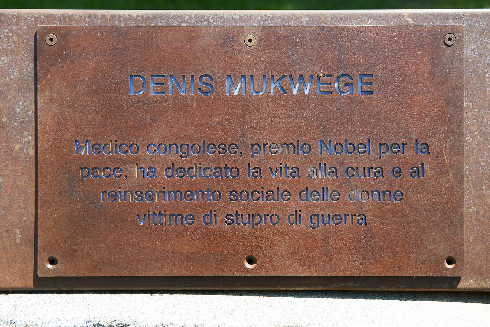 the plaque dedicated to Denis Mukwege
