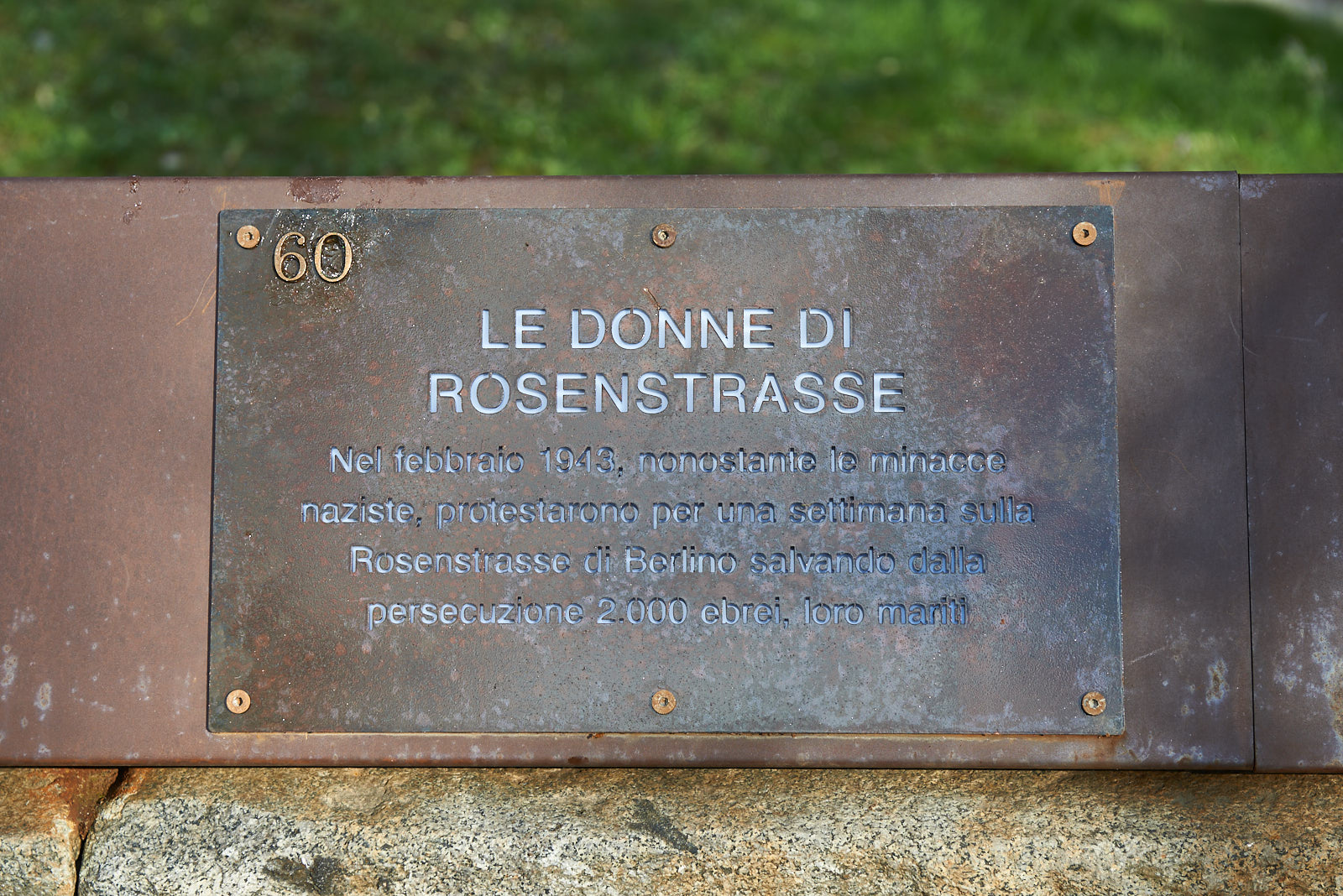 Plaque dedicated to the women of Rosenstrasse