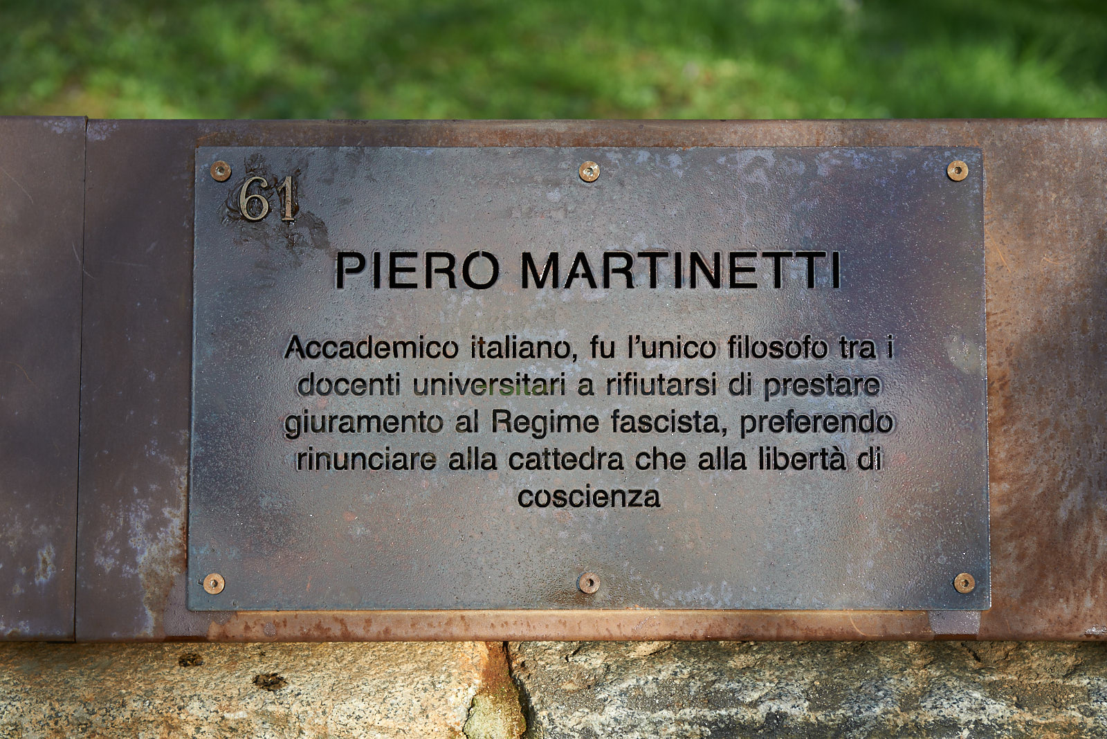Plaque dedicated to Piero Martinetti