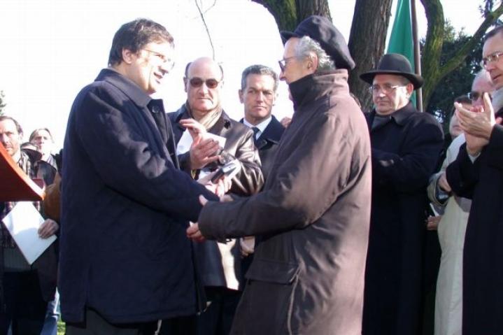 President Marra with Lucien Lazare representing Moshe Bejski