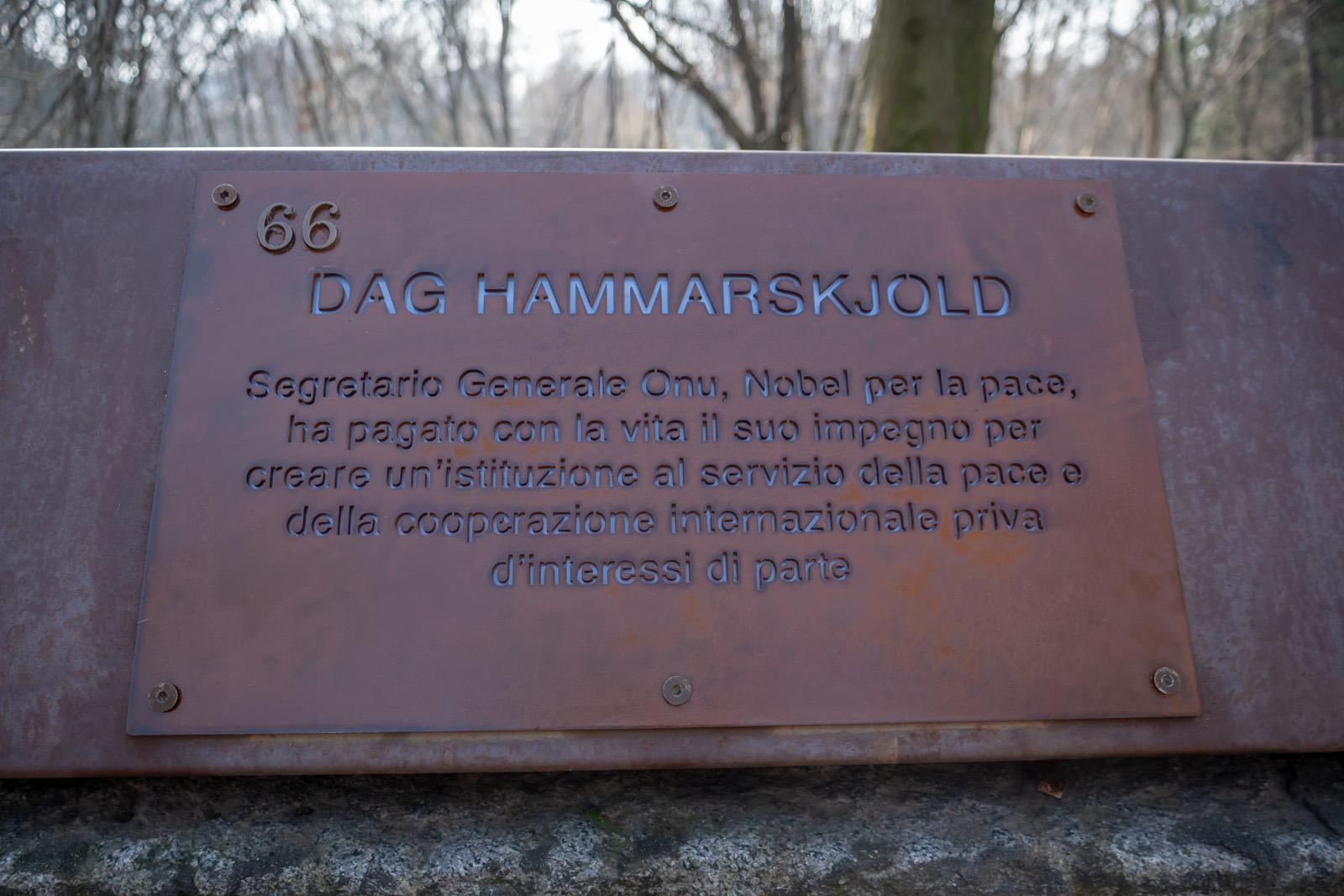 The plaque for Dag Hammarskjold