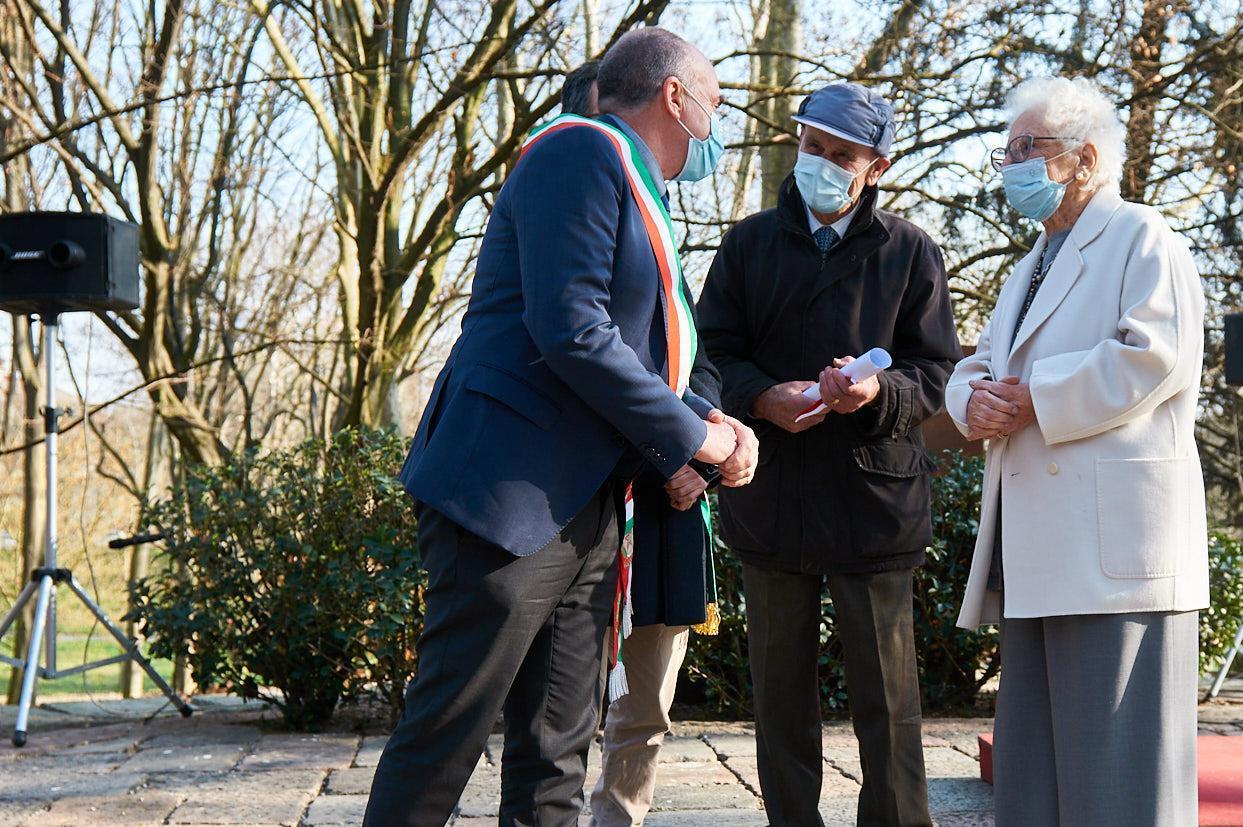 Luca Olivieri, Vice Mayor and Environment Councillor of Mondovì with Senator Liliana Segre and Fiorenze Aimo