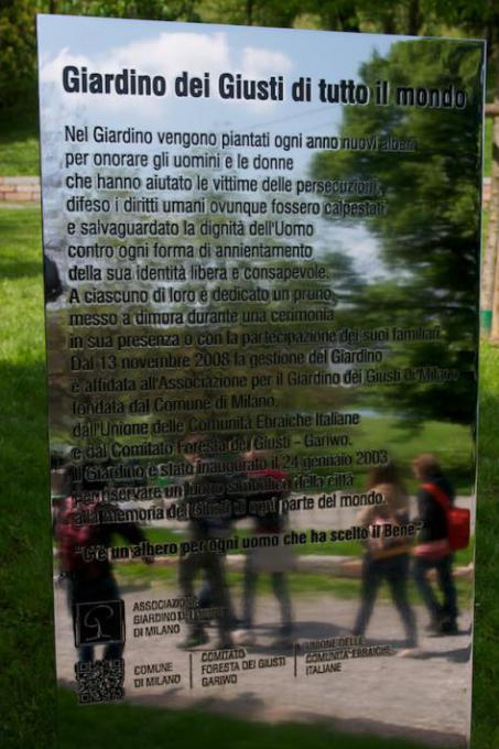 The stele at the entrance of Milan Garden of the Righteous Worldwide