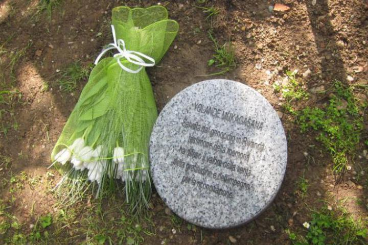 The stone dedicated to Yolande Mukagasana