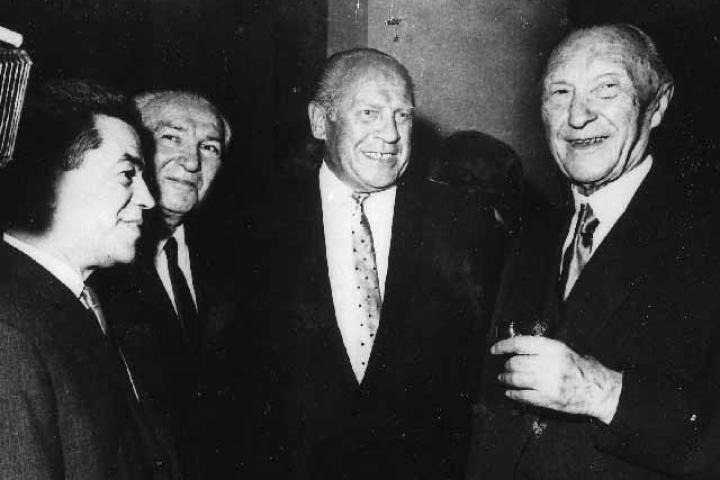 Bejski with Oskar Schindler and the German Chancellor Konrad Adenauer
