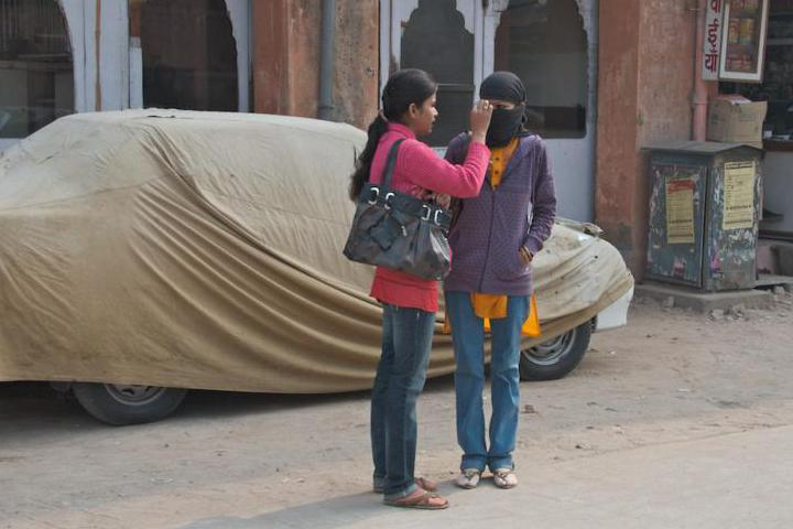 Taking care of their appearance... under the veil