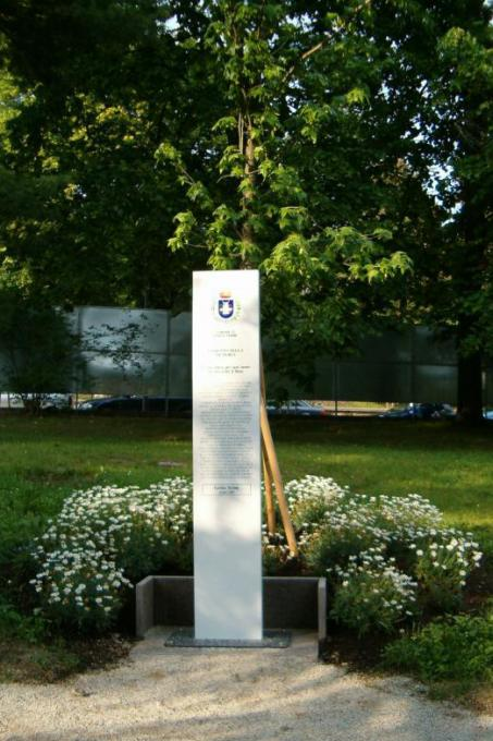 The memorial stone in honour of Giorgio Perlasca