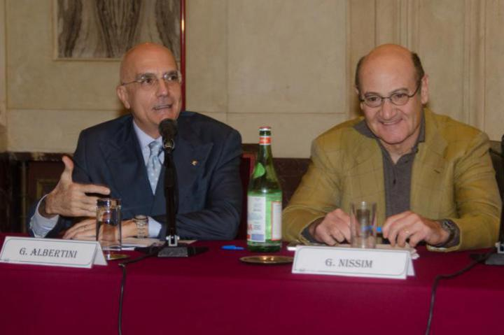 Gabriele Albertini, European parliament member and first signatory for the European Day of the Righteous, and Gabriele Nissim