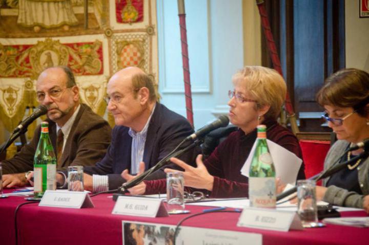Giorgio Mortara, counselor UCEI, Gabriele Nissim, president of Gariwo, Ulianova Radice, director of Gariwo, Maria Grazia Guida, deputy mayor of Milano