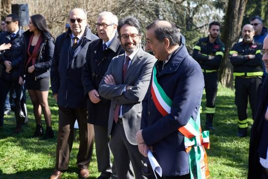Giorgio Mortara - UCEI Vice President, Basilio Rizzo - Municipal Councilor, Lamberto Bertolé - President of the Municipal Council, Giuseppe Sala - Mayor of Milan