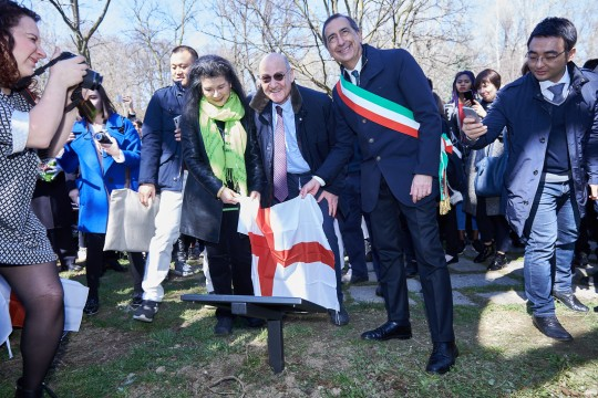 Ho Manli, the president of Gariwo Gabriele Nissim and the Mayor of Milan Giuseppe Sala