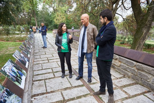 Claudio Bisio at the Garden of the Righteous of Milan