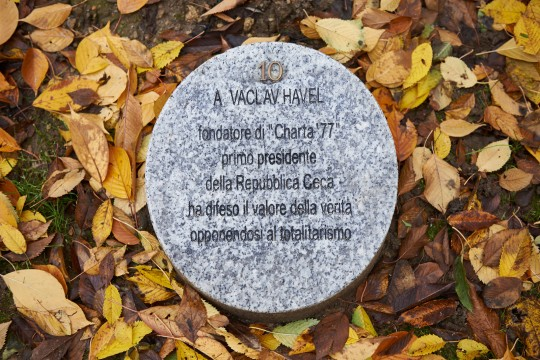 The memorial stone dedicated to Vaclav Havel