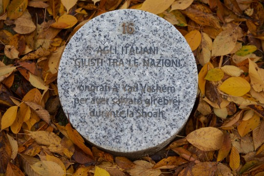 The memorial stone dedicated to Italians Righteous among the Nations