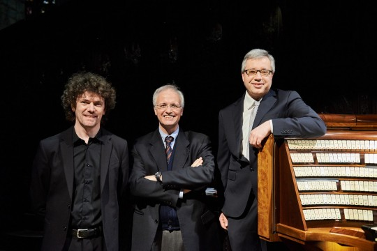 The organists Roberto Olzer, Emanuele Carlo Vianelli and Alessandro La Ciacera
