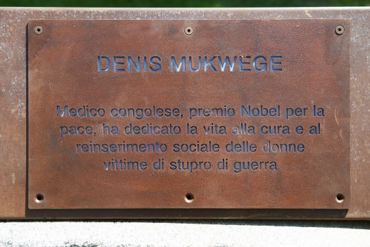 the plaque dedicated to Denis Mukwege