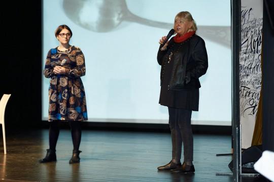 Elżbieta Ficowska, the youngest child saved by Irena Sendler, with the translator Malgosia Pisarkiewicz
