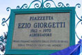 The inscription in honour of Ezio Giorgetti