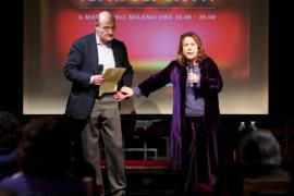 Andrée Ruth Shammah and Gabriele Nissim on stage at Franco Parenti Theatre, on 6 March 2012
